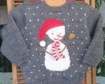 PULL BEBE tricot fait main en laine, gris avec un bonhomme de neige cadeau  de c09f57a0860