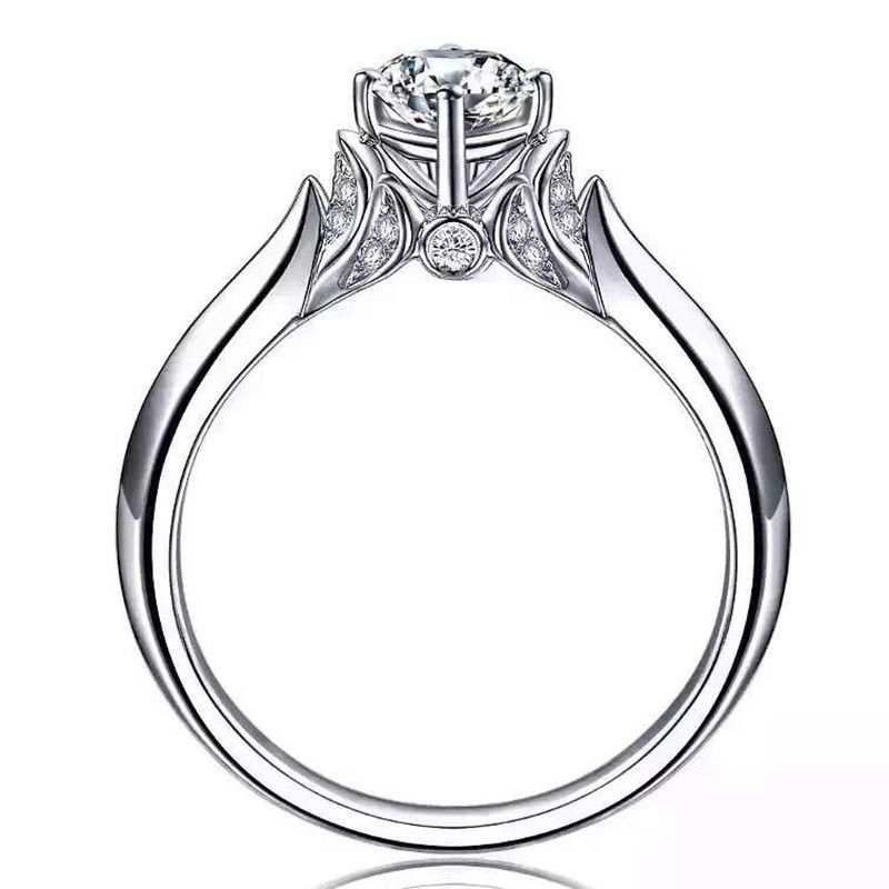 Argento 925 carati 0.8 CT anello Zircone Cubico femminile Swan forma regolazione del Polo di nozze anelli di fidanzamento per le donne gioielli