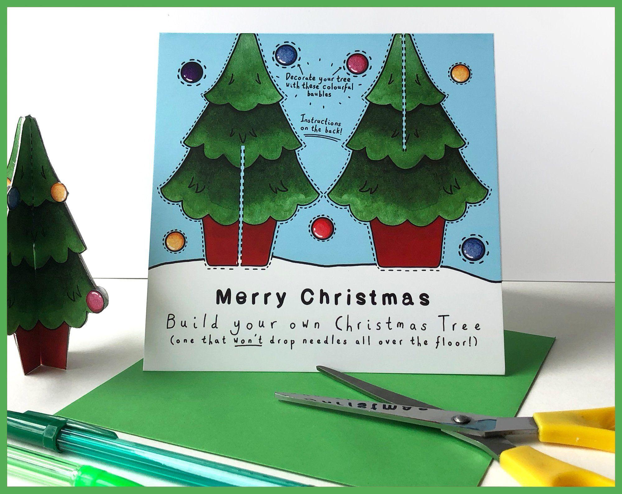 Make Your Own Christmas Tree Card Send More Than A Card Crafting Maker Secret Santa Christmas Cards Xmas C Christmas Tree Cards Christmas Christmas Tree
