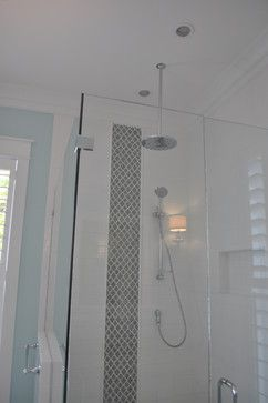 Ideal For A Small Space A Combination Of Subway Tile With Insert Of Arabesque Tile Cud Extend To Show Shower Tile Arabesque Tile Master Shower Tile