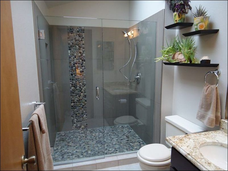 Walk In Showers For Small Bathrooms Wall Mounted Dark Brown Curved Round Shower Head Grey Porcelain Tiles Room Aqua Gl Blocks