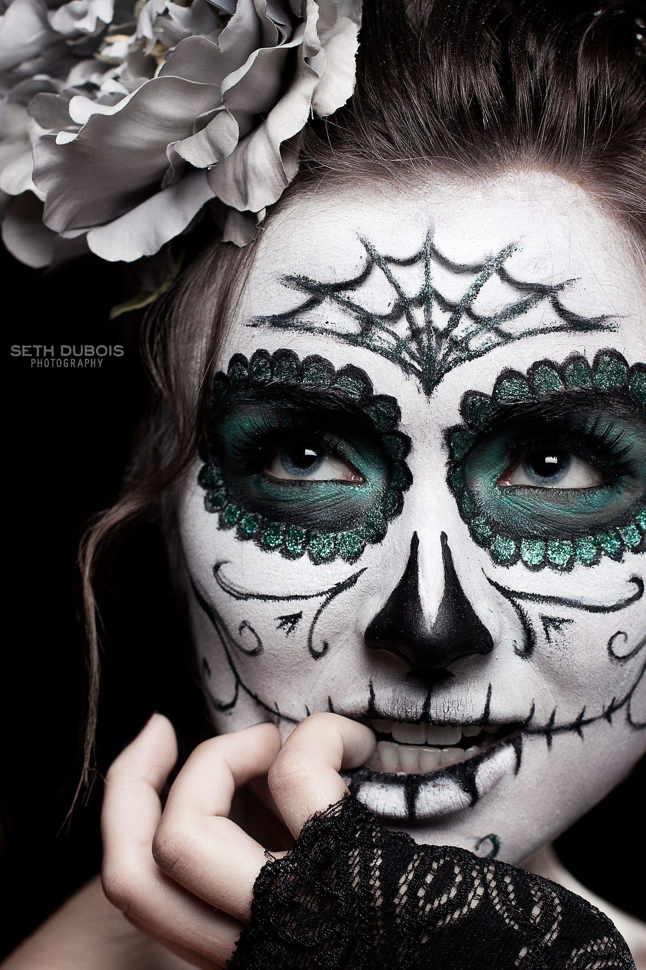 Emerald green sugar skull makeup design Skull face paint