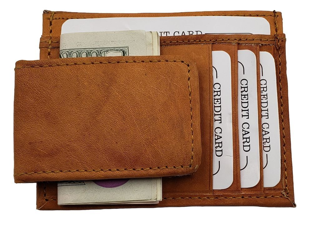 4723ba226693 Genuine Leather Front Pocket Magnetic Money Clip. 1 Photo ID Insert ...