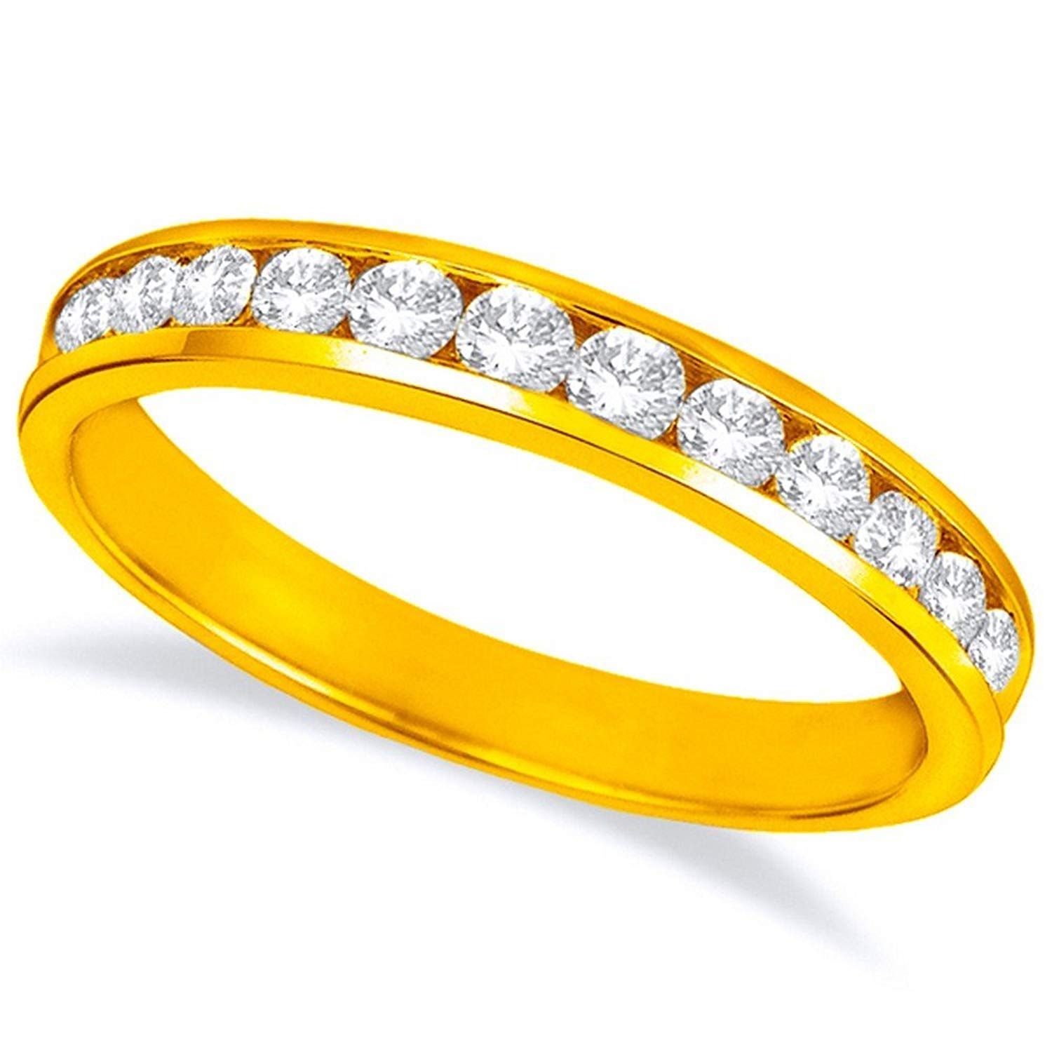 Buy Jewels 14k Gold Dainty Half Band Natural Diamond Wedding Anniversary Ring 0.08 cttw, G-H Color