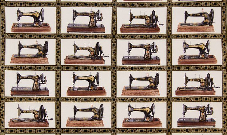 Sewing With SingerSewing MachinesAntiquePanel 40x40 New Classy Vintage Sewing Machine Fabric