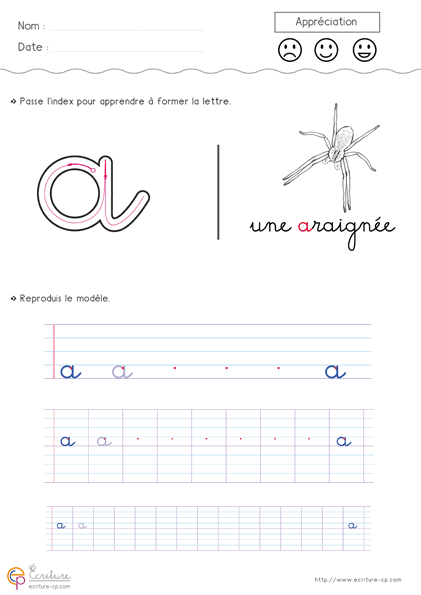 Apprendre crire l 39 alphabet en minuscule imprimer feuille d 39 criture cp ce1 avec guide pour - Apprendre a broder des lettres ...