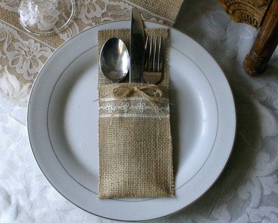Wedding Silverware Pockets Burlap Cutlery Holders 6 21 Wedding