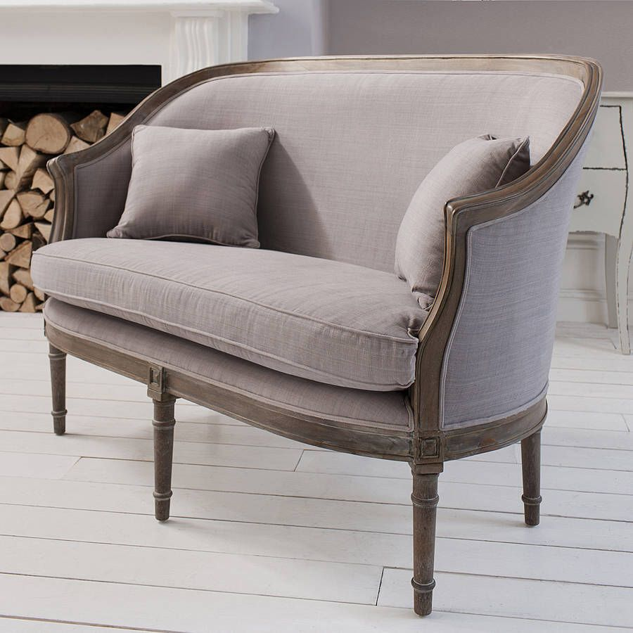 I Ve Just Found Elegant Two Seater Sofa Grey With Its Elegant Curves Stylish Weathered Wooden Frame And Turned Le Upholstered Sofa Stylish Chairs Seater Sofa