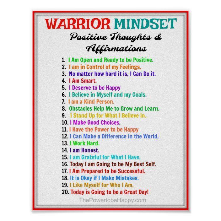 Positive Affirmations Poster - Warrior Mindset   Zazzle.com