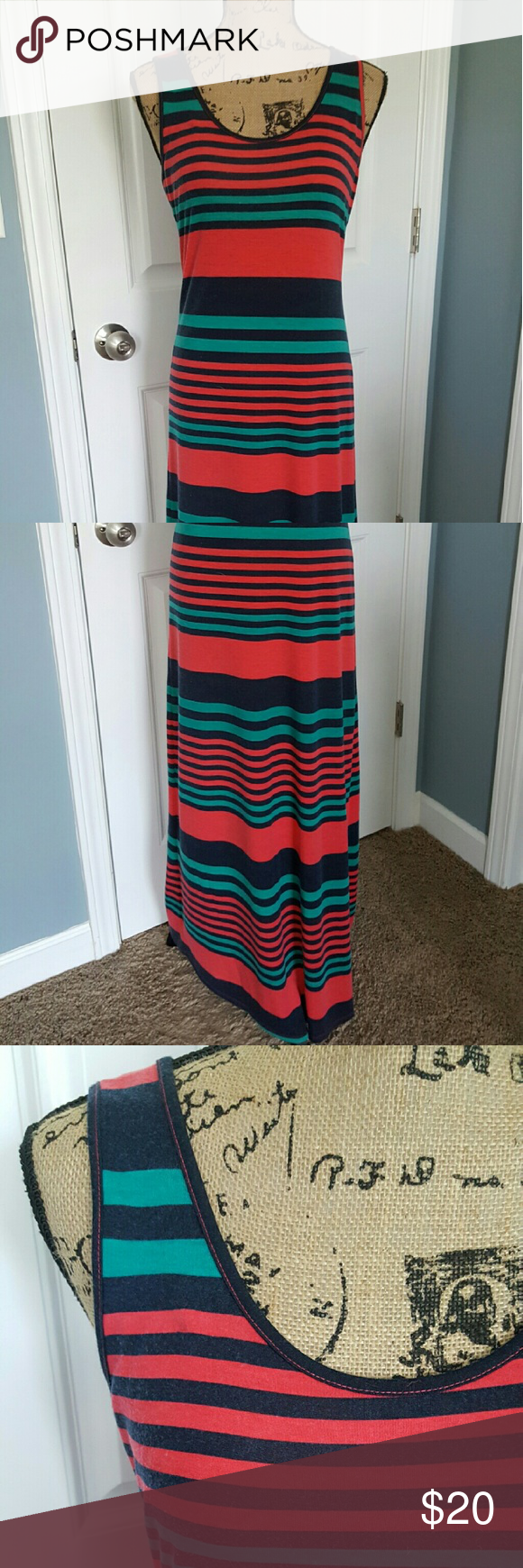 """Striped Maxi Dress NWOT.  Took tags off but never wore because it was a tad too short on me (I'm 5'6"""").  Super Cute! Pink Rose Dresses Maxi"""
