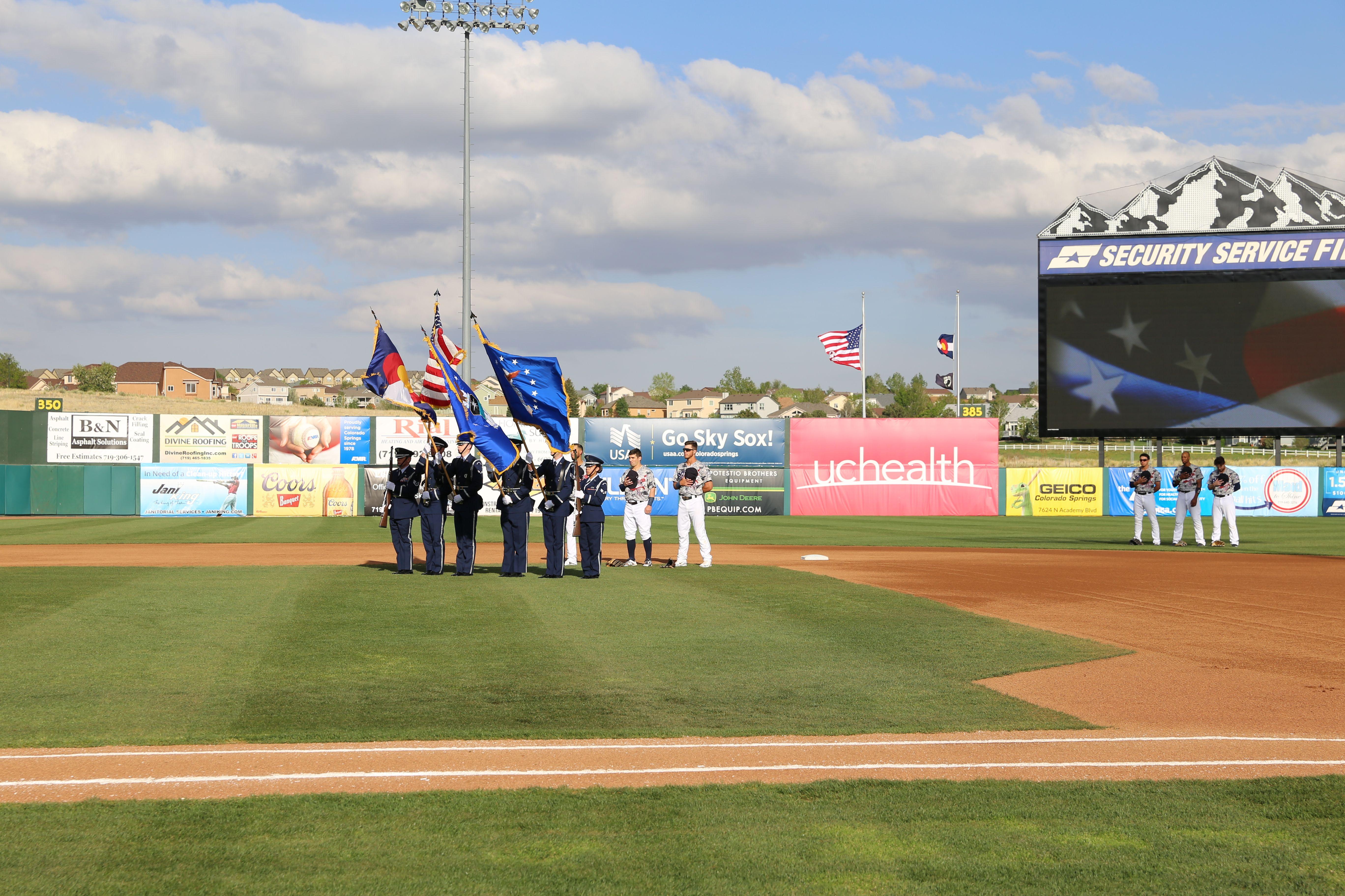 Usafa Honor Guard Present The Colors At Air Force Appreciation Night At Sky Sox Stadium Honor Guard Air Force Stadium