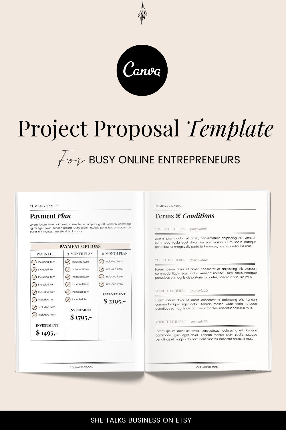Project Proposal Template Project Proposal Canva Template Etsy