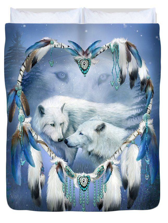 Heart Of A Wolf 3 designer Duvet Cover featuring the art of Carol Cavalaris. On king, queen, full, and twin sizes. Design also on matching pillow and fine art print.