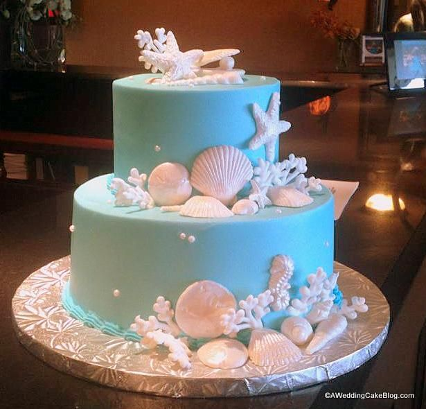 Key West Wedding Ideas: Teal Sea Shell Wedding Cake For A Key West Destination