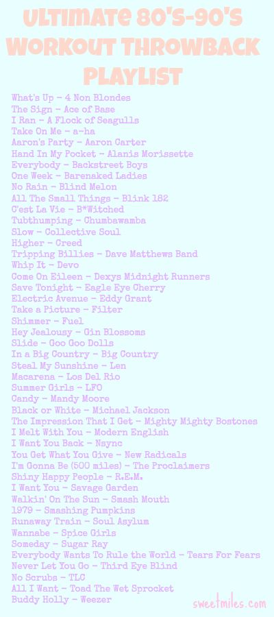 Workout Playlist Ideas From The 80s And Mostly 90s Running