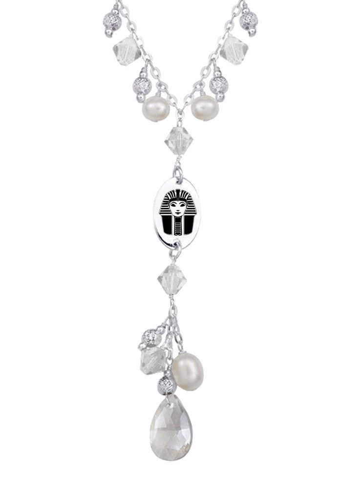 Phi Sigma Sigma Symbol Clear Crystal And Freshwater Pearl Necklace
