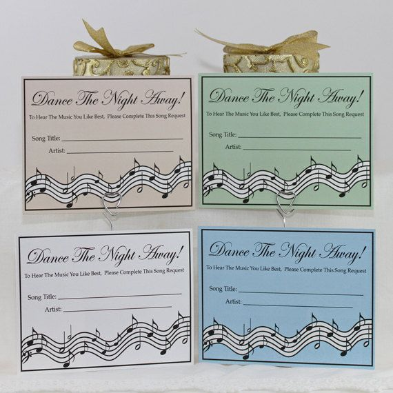 Wedding Party Song Request Cards Dance The By DelightfulTrifles 3000