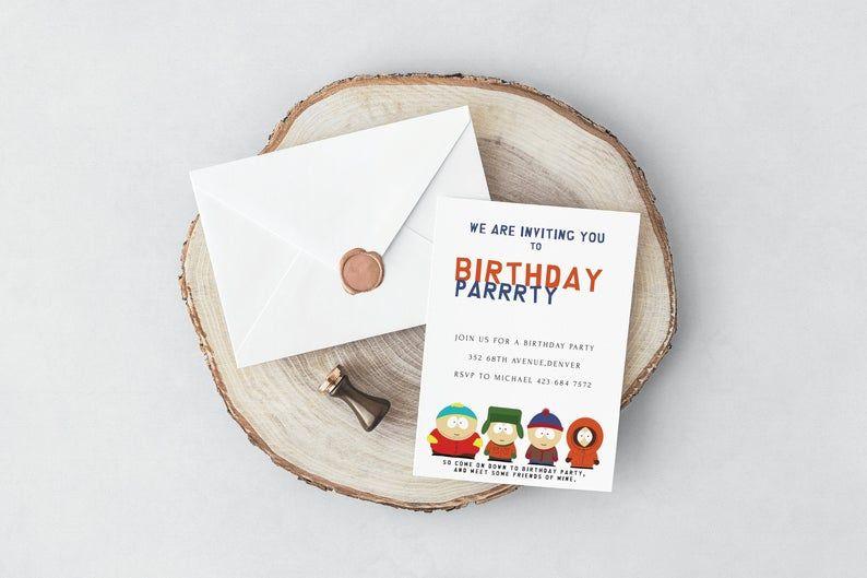 South Park Birthday Invitation Card Birthday Invitation Card Park Birthday Birthday Invitations Cards