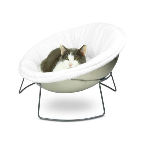 Hepper Satellite Lounge Bed In White. For Modern Cats And Dogs.
