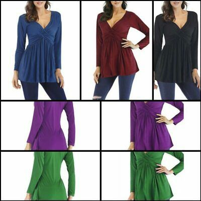 Loose Womens Casual Tops Pullover Solid V Neck Jumper Long Sleeve T-Shirt (ebay link)