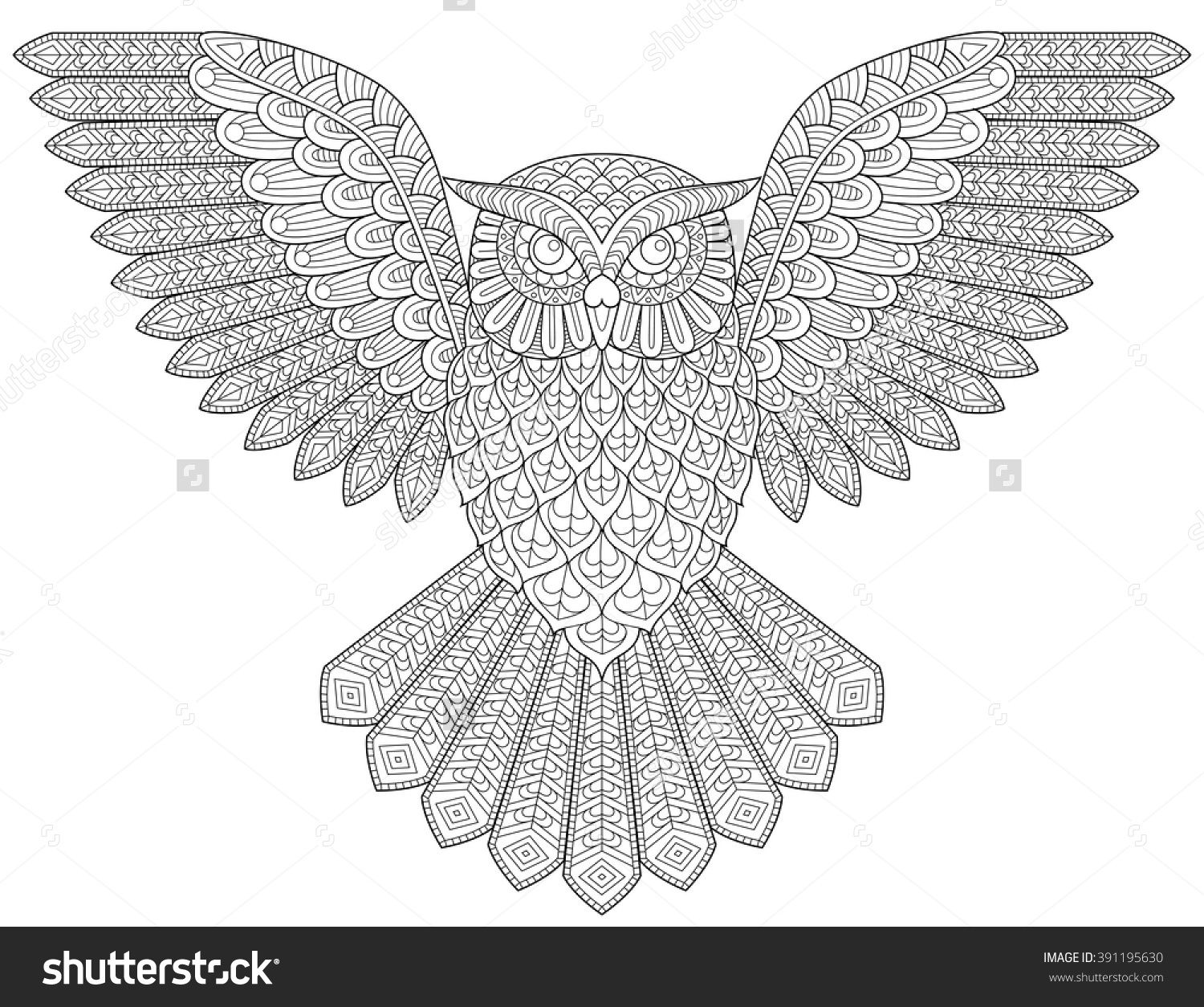 Flying Owl Adult Antistress Coloring Page Black And White Hand Drawn Illustration For Book