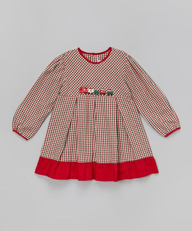 Look what I found on #zulily! Red & Green Gingham Train Dress - Infant & Toddler #zulilyfinds
