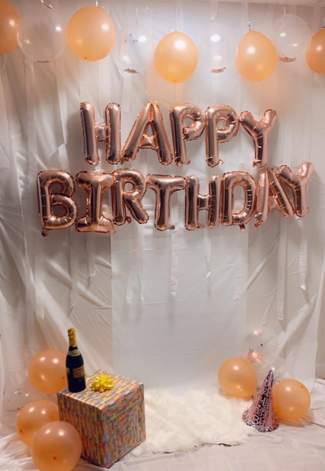 GOLD PINK /&  HAPPY BIRTHDAY BALLOON BANNER BUNTING PARTY DECORATION Ballons