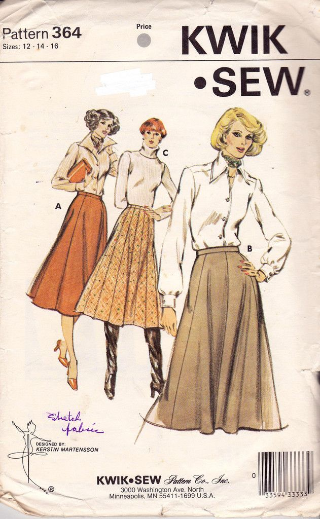 Kwik Sew 364 Gored Skirt Pattern 70s Vintage Sewing Pattern Size 12 ...