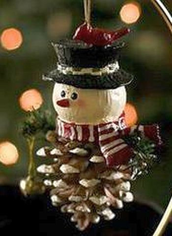 Pinecone Snowman Christmas Ornament