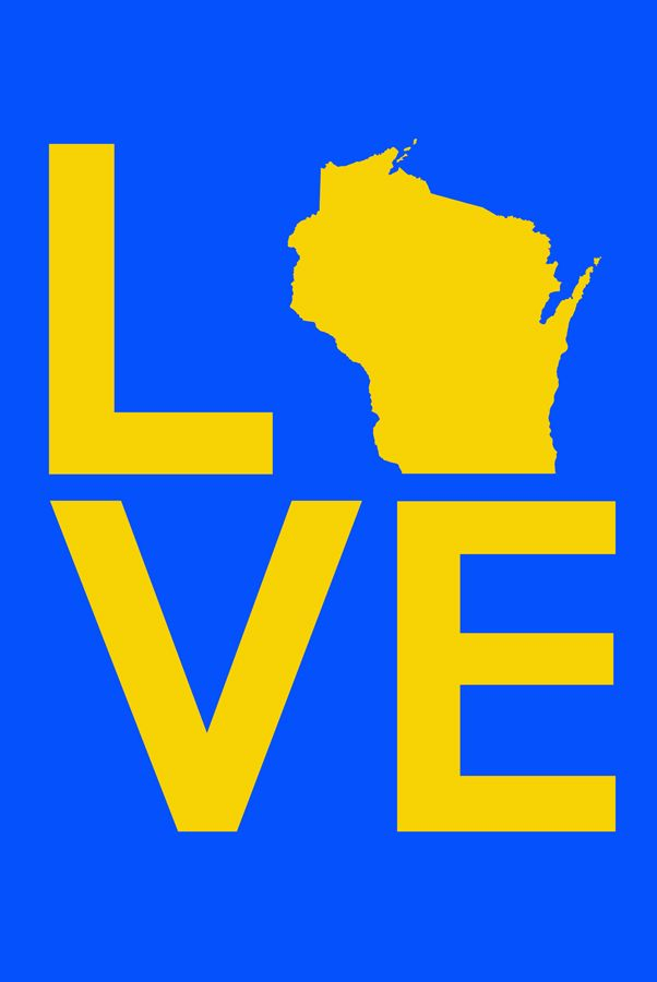24x36 Blue & Yellow LOVE Gallery Wrapped Canvas.  from AW Artworks LLC for $149.00