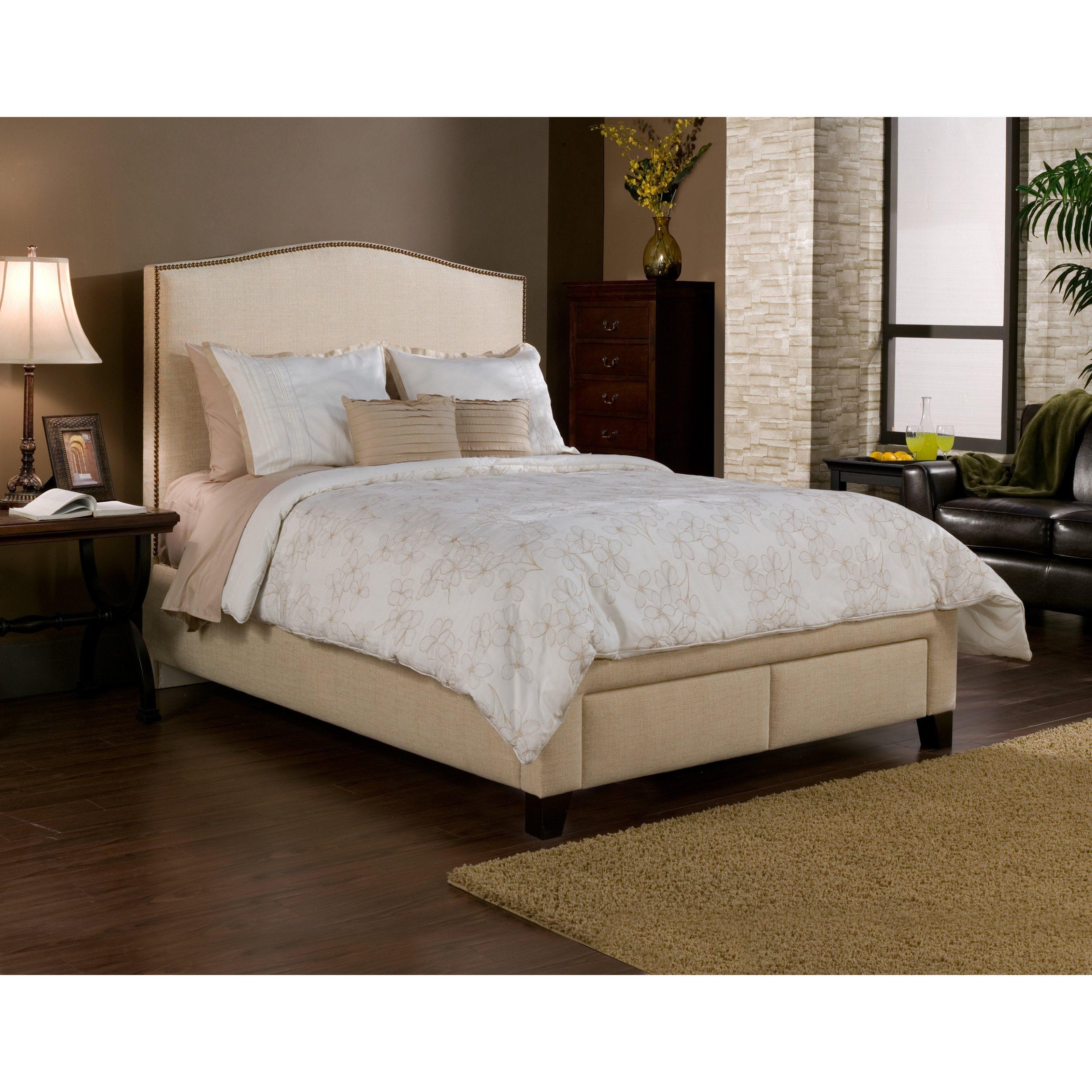 Have to have it. Newport Nailhead Upholstered Storage Platform Bed ...