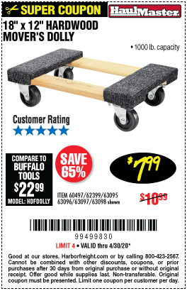 Haul Master 18 In X 12 In 1000 Lb Capacity Hardwood Dolly For 7 99 Harbor Freight Tools Harbor Freight Coupon Hardwood