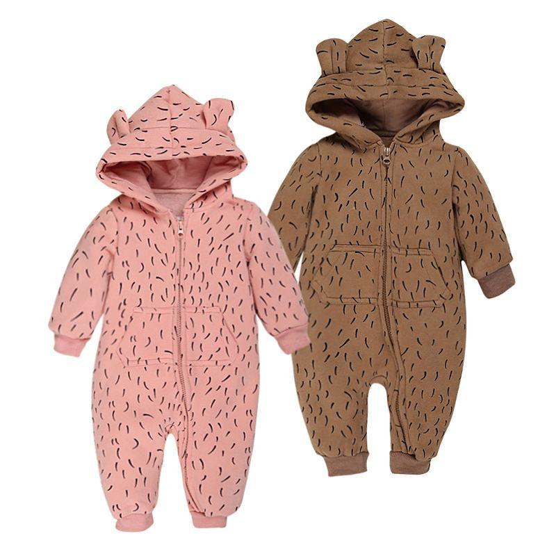 04a107245a83 2016 Baby Fleece Romper Autumn Winter Long Sleeve Hooded Rompers ...