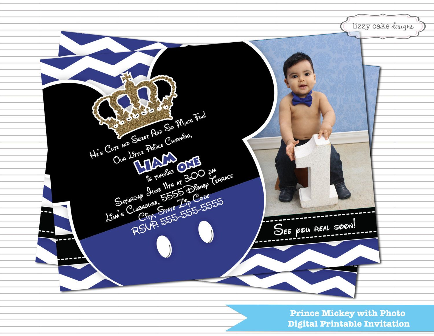 Prince Mickey Mouse Birthday Invitation Blue & Gold with Photo ...