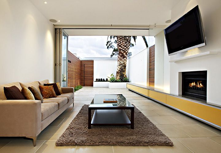 Nice extension of inside into the outside and garage well for Minimalist victorian living room