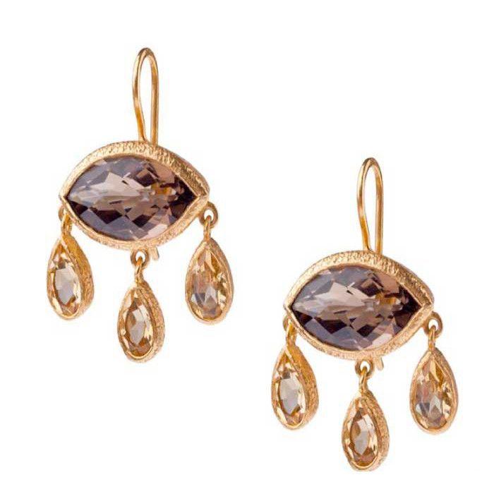 Vasant Designs Smoky Quartz and Citrine 24k Gold Vermeil Earrings