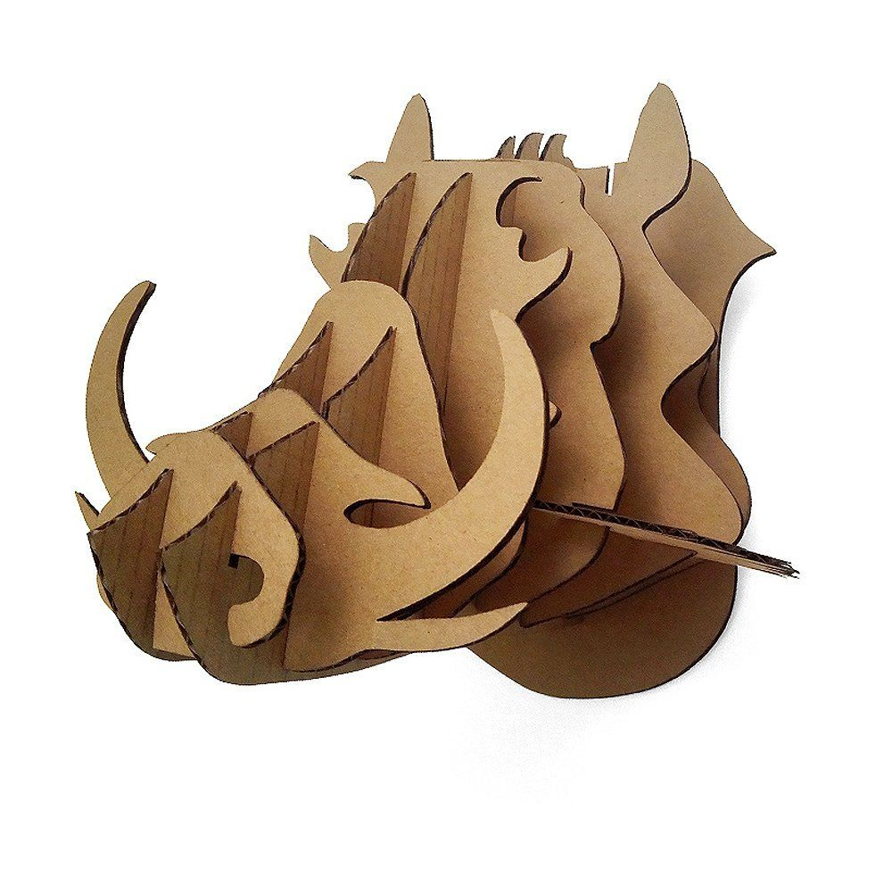 DIY Cardboard Wild Hogs Animal Head Wall Mount Hanging
