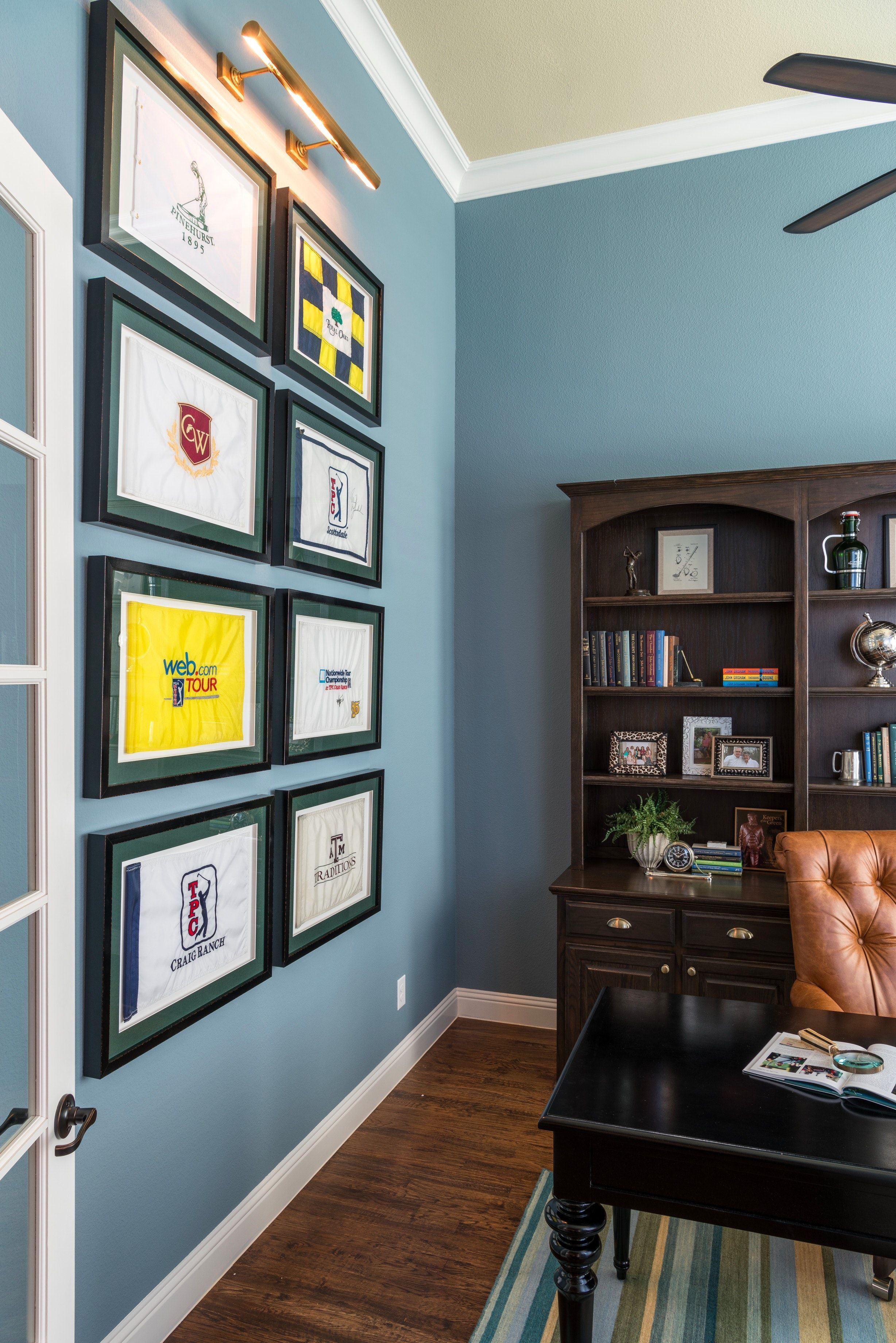 Golf Flag Collection In Study By Nicole Arnold Interiors Golf Room Golf Decor Golf Wall Decor