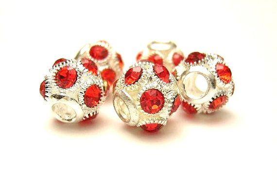 5 European Charm Bracelet Beads Silver w/ RED by XzibitASupply, $4.90