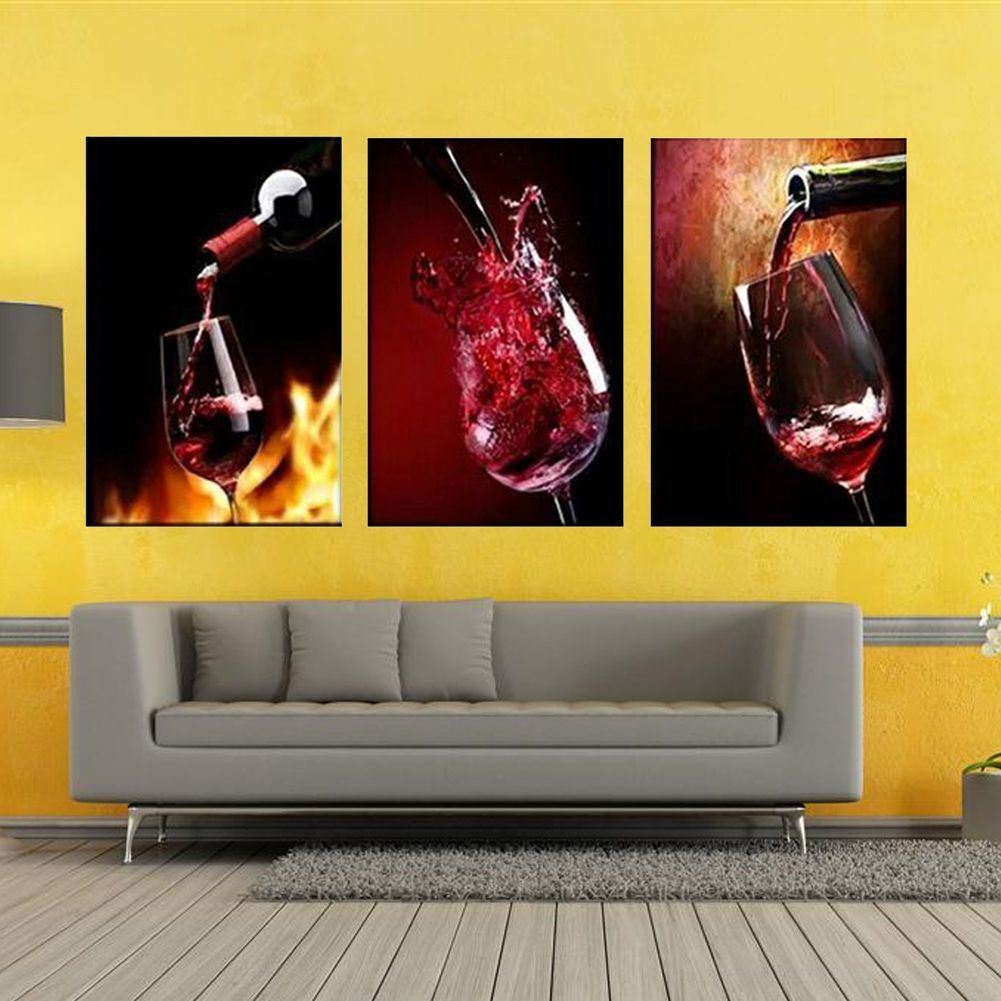 Red Wine Cup Bottle Modern Home Decor Kitchen Wall Painting Art ...