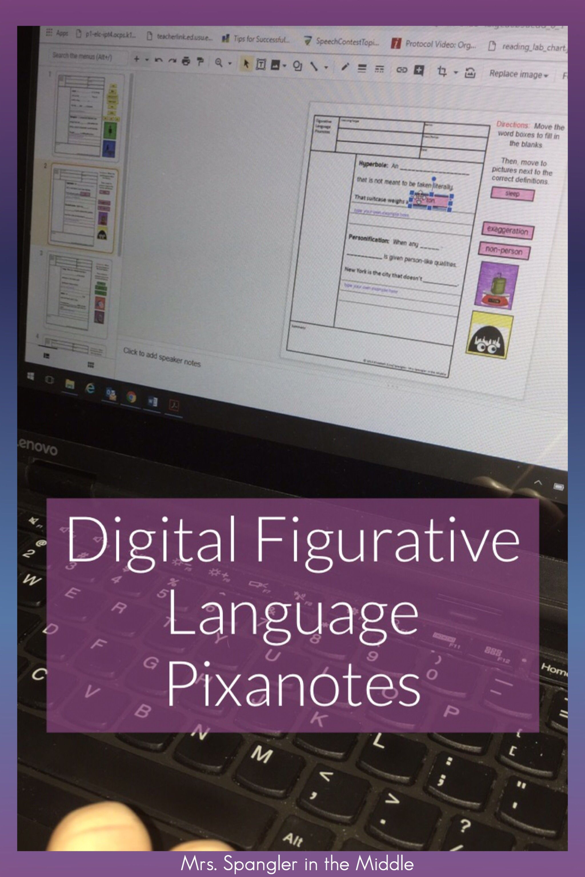Kick Off Your Middle School Figurative Language Unit By Introducing Critical Vocabulary Of