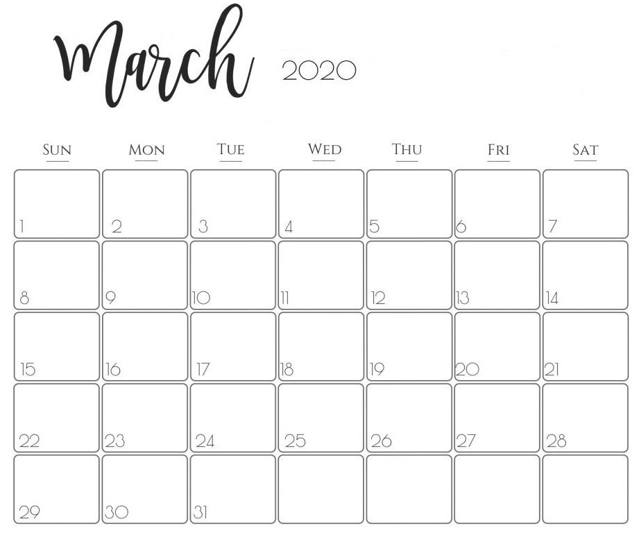 March 2020 Calendar Us With Notes In 2020 Printable Calendar