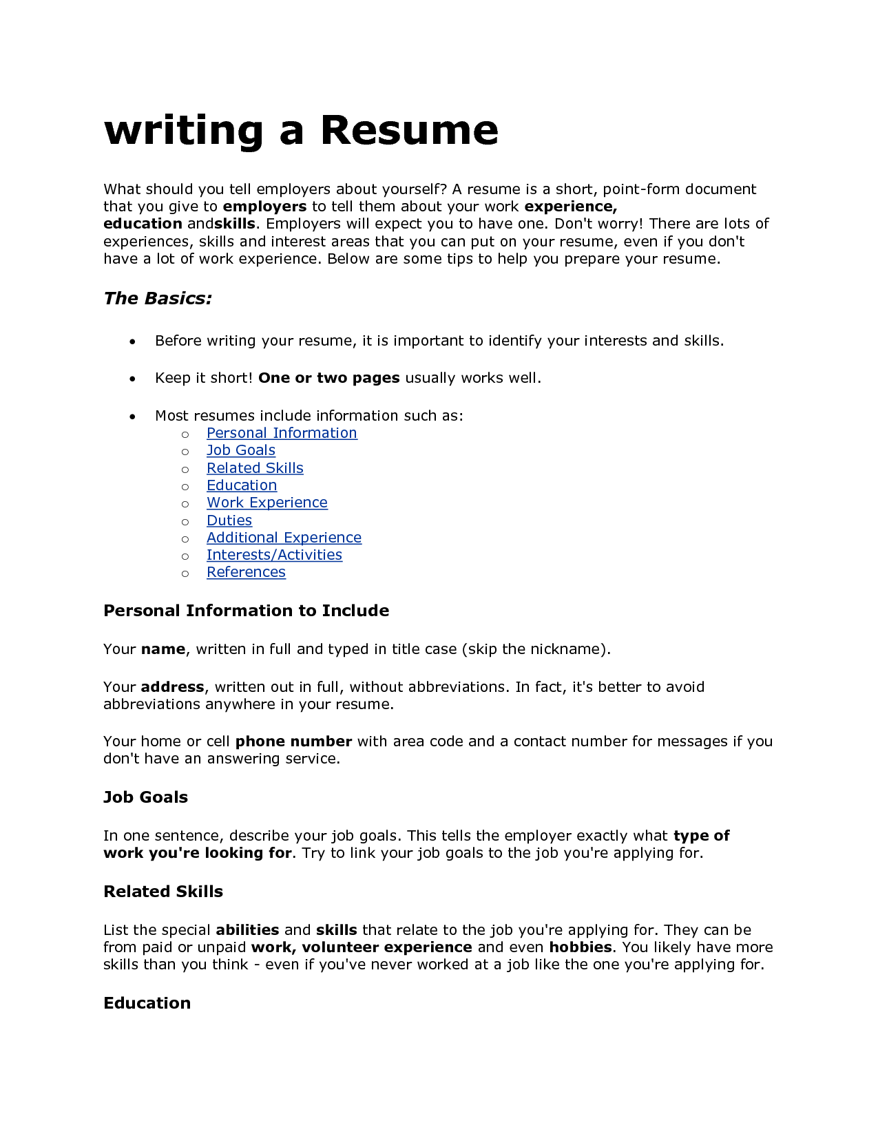 Good Interests Put Resume List Cover Letter For Resume Resume Skills Sample Resume