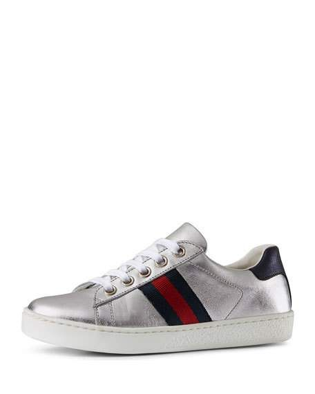 b3d6c1239 Get free shipping on Gucci New Ace Metallic Leather Web Sneakers,  Toddler/Youth Sizes 10T-2Y at Neiman Marcus. Shop the latest luxury  fashions from top ...