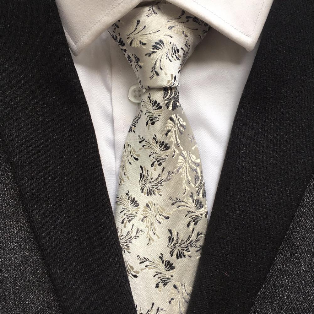 Silver Tie Patterned Handmade 100/% Silk Wedding Necktie 8cm Width