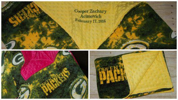 Personalized baby/toddler fleece Green Bay Packer blanket