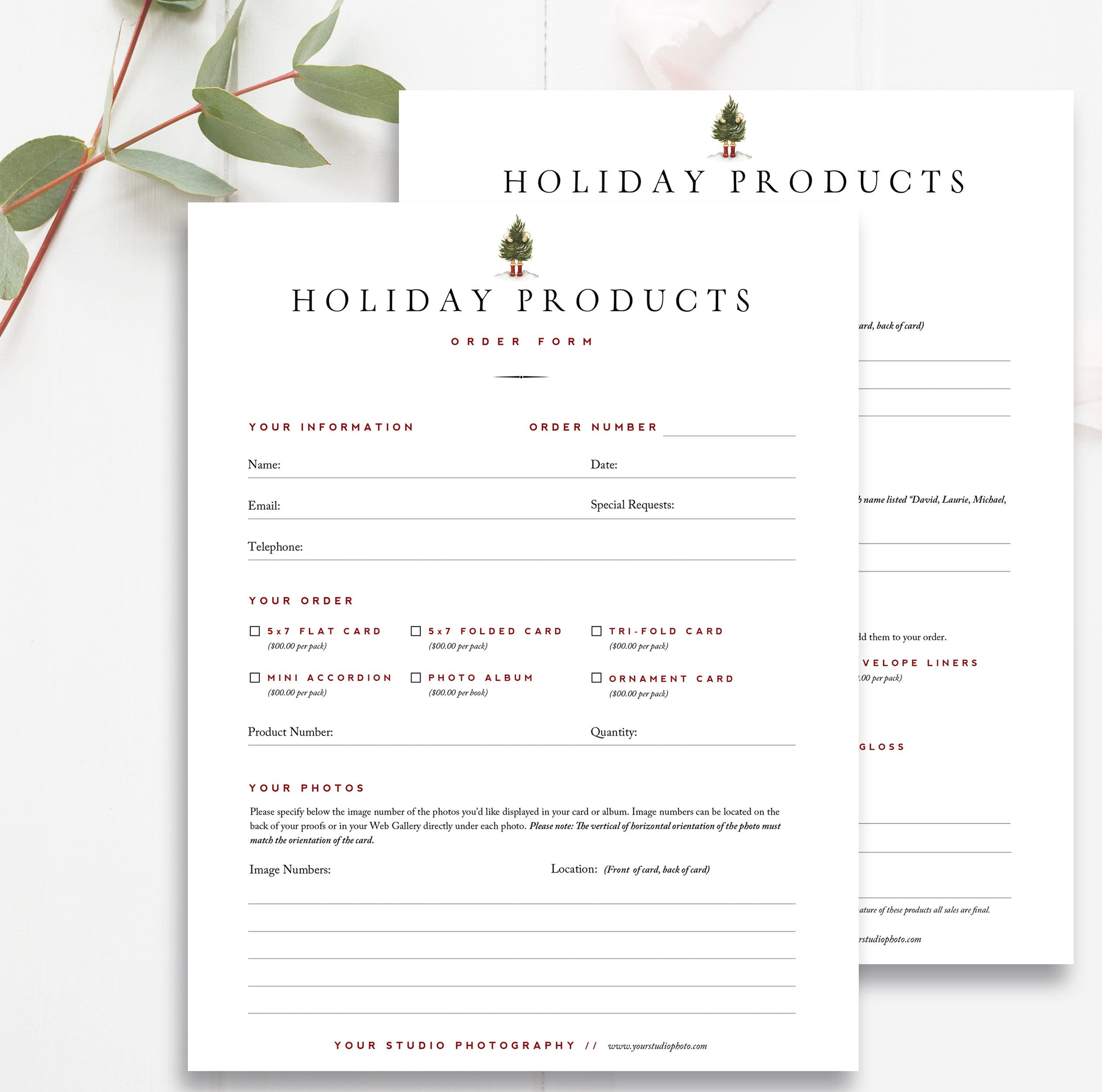 Christmas Card Order Form Photographer Forms Photoshop Etsy Photoshop Template Design Product Catalog Template Templates