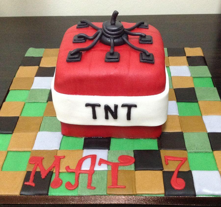 Tnt Minecraft Cake 7th Birthday Minecraft Tnt Ideas For Katys