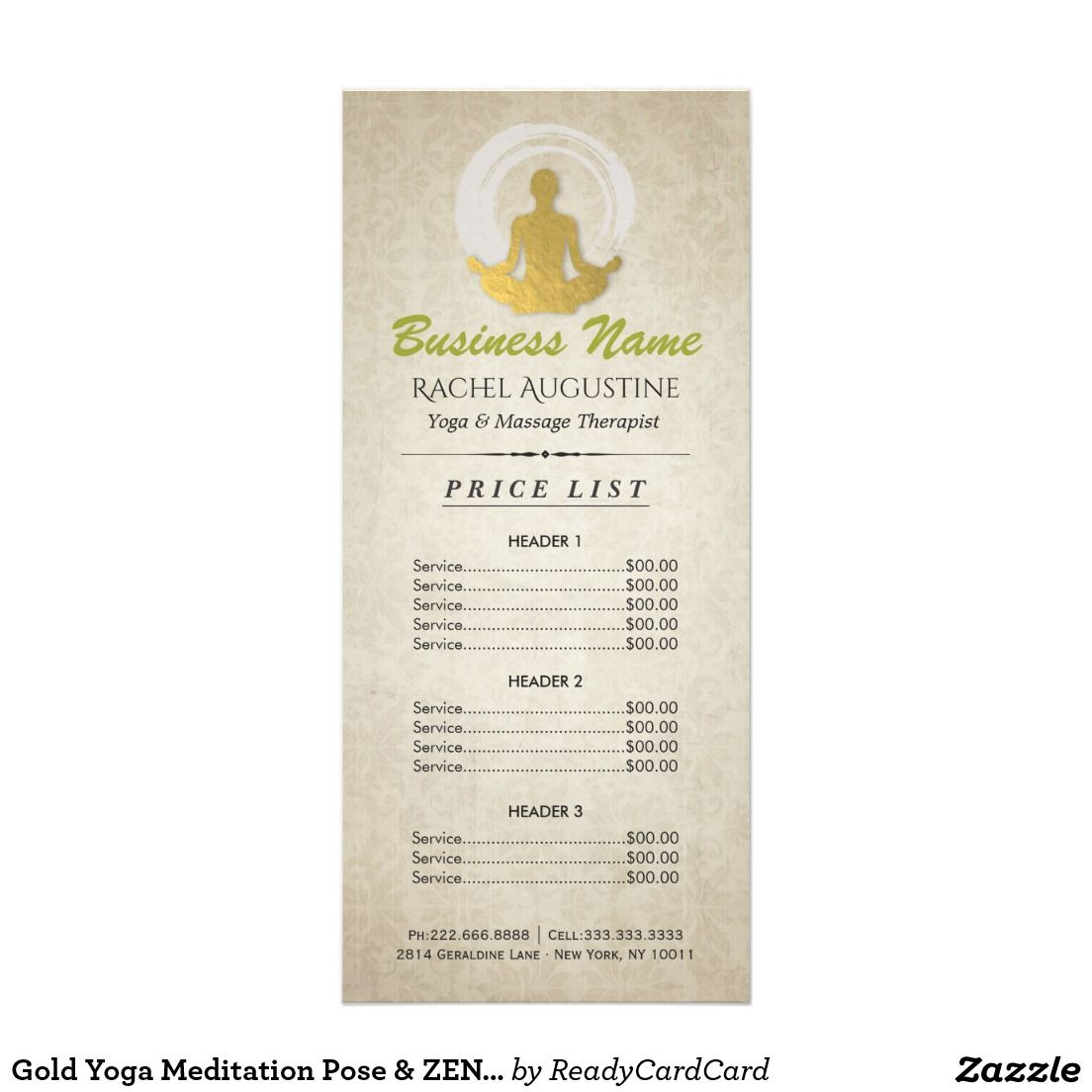 Gold Yoga Meditation Pose & ZEN Symbol Price List Rack Card | YOGA ...