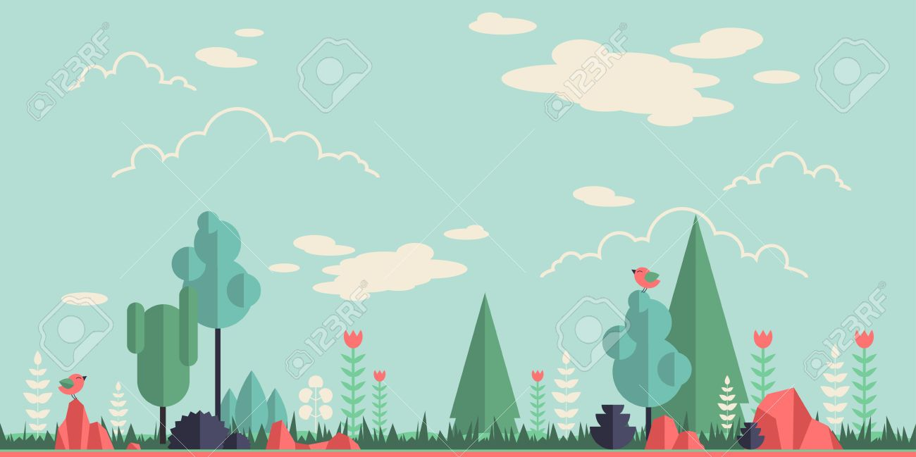 40086874 Summer Forest Flat Background Simple And Cute